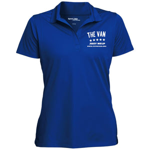 The Van White Logo LST650 Women's Micropique Tag-Free Flat-Knit Collar Polo