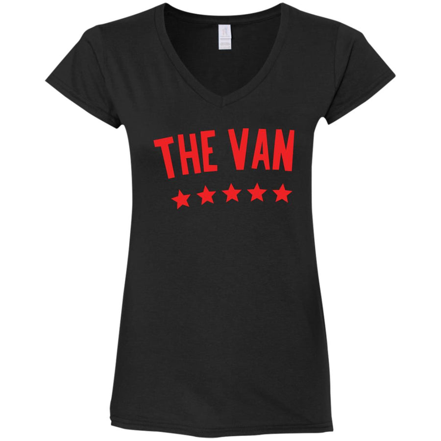 The Van Red Logo G64VL Ladies' Fitted Softstyle 4.5 oz V-Neck T-Shirt