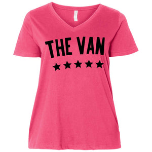 The Van Black Logo 3807  Ladies' Curvy V-Neck T-Shirt