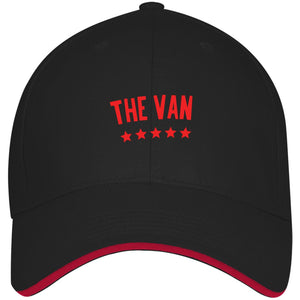 The Van Red Logo 3621 USA Made Structured Twill Cap With Sandwich Visor