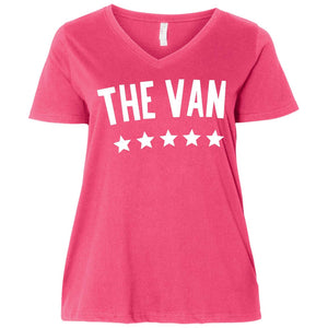 The Van White Logo 3807  Ladies' Curvy V-Neck T-Shirt