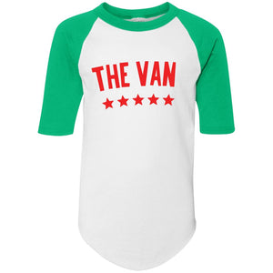 The Van Red Logo 4421 Youth Colorblock Raglan Jersey