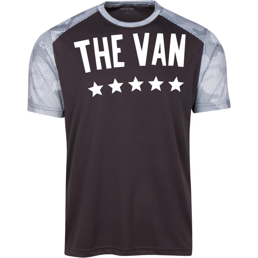 The Van White Logo YST371 Youth CamoHex Colorblock T-Shirt