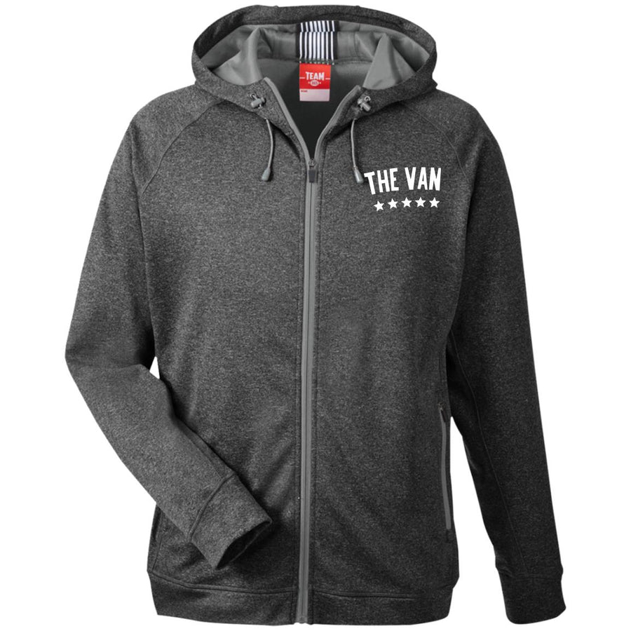 The Van White Logo TT38 Men's Heathered Performance Hooded Jacket (White)
