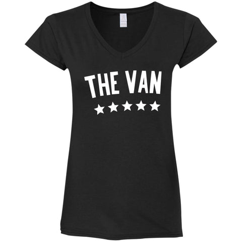 The Van White Logo G64VL Ladies' Fitted Softstyle 4.5 oz V-Neck T-Shirt