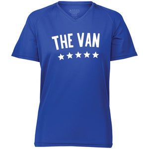The Van White Logo 2792 Ladies' Raglan Sleeve Wicking T-Shirt