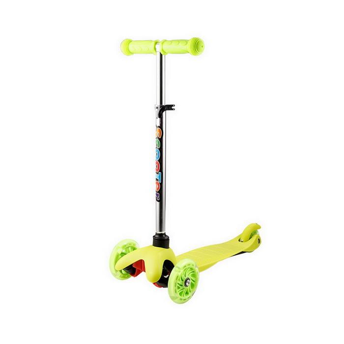 Trottinette enfant verte ajustable à LED