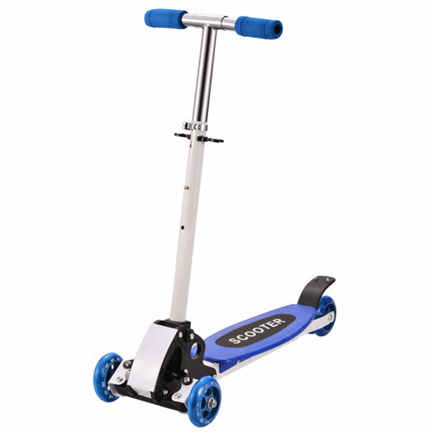 Trottinette enfant bleue ajustable à LED
