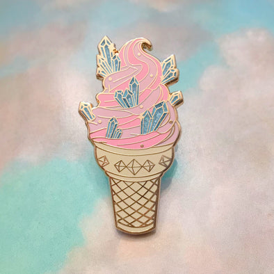 "Crystals ""Cosmic Crystal Dairy Free"" Ice Cream Enamel Pin"