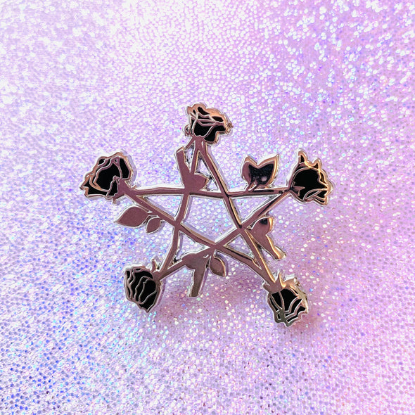 Black Rose Pentagram Enamel Pin
