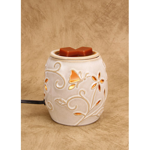 Ceramic Wax Warmer - Electric - Beige Flowers And Nature Design Item