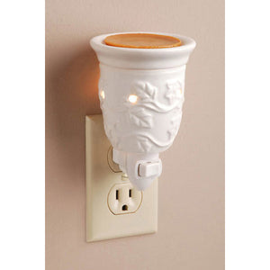 Ceramic Plug-In Wax Warmer - Embossed White Design