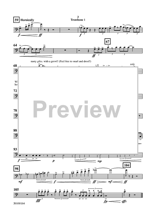 Cycle of the Werewolf - For Concert Band - Trombone 1