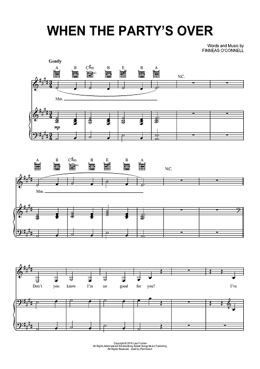 Billie Eilish — When the party's over Sheet Music ...