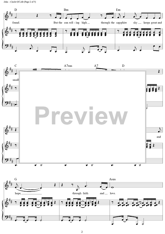 Buy Circle Of Life Sheet Music By Elton John For Piano Vocal Chords