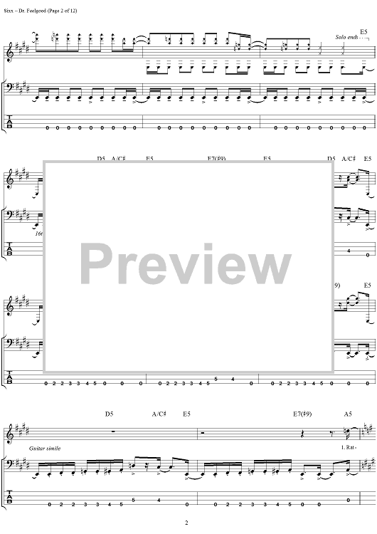 Buy Dr Feelgood Sheet Music By Motley Crue For Bass Tab Vocal