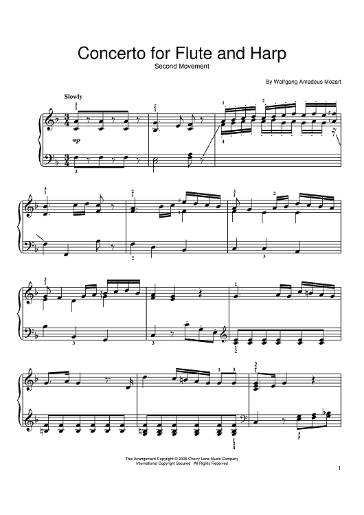 Concerto For Flute And Harp (Second Movement)