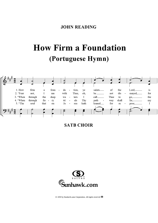 How Firm a Foundation (Portuguese Hymn)