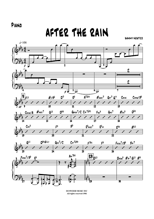 After the Rain - Piano