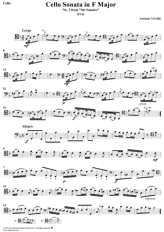 Cello Sonata No. 2 in F Major, RV41 (Cello Part) - Cello