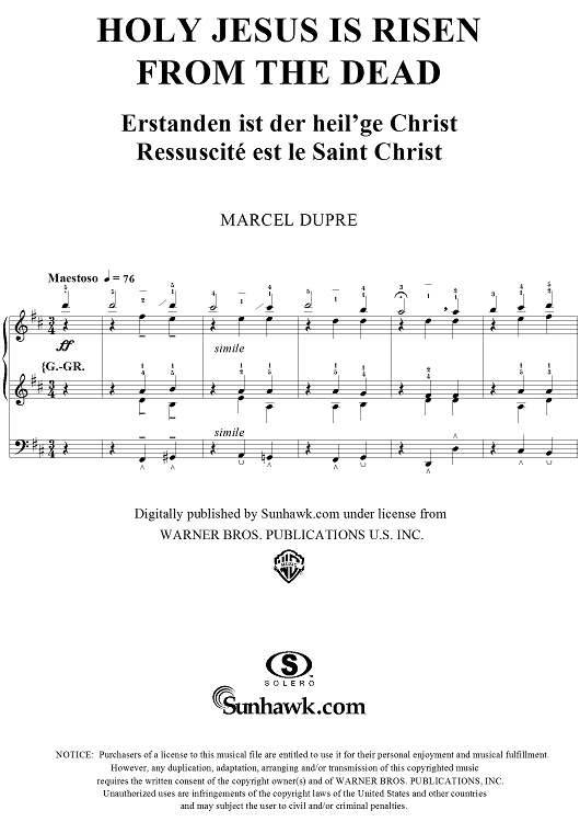 "Holy Jesus is Risen From the Dead, from ""Seventy-Nine Chorales"", Op. 28, No. 25"
