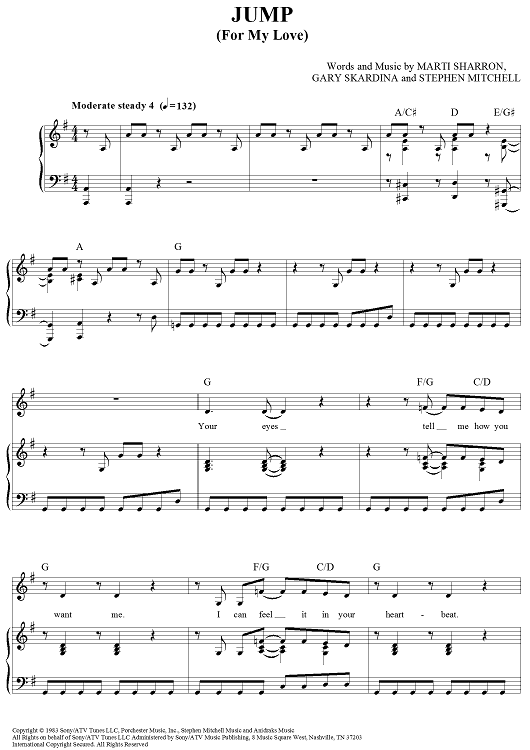 Buy Jump For My Love Sheet Music By The Pointer Sisters For Piano Vocal Chords