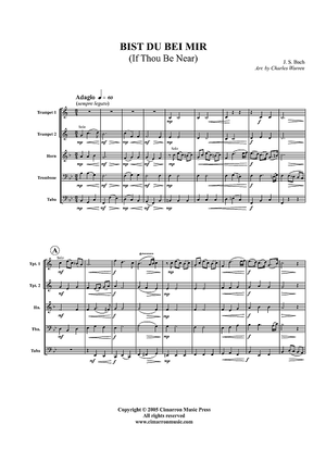 Bist du bei Mir (If Thou Be Near) - Score