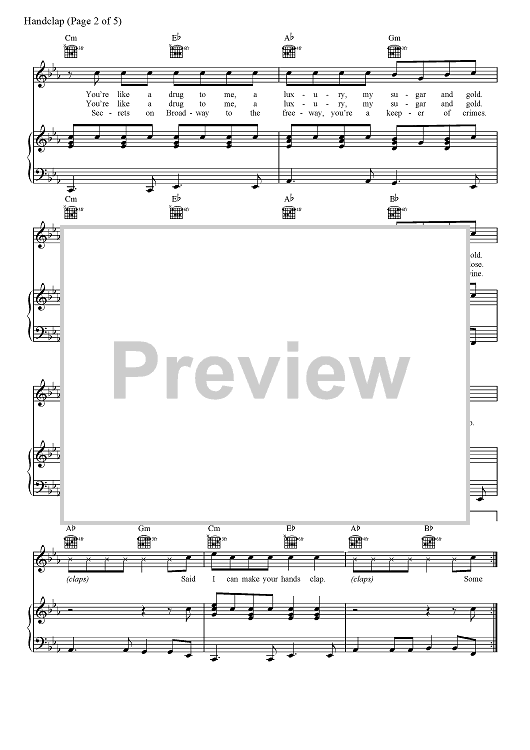Buy Handclap Sheet Music By Fitz And The Tantrums For Piano Vocal Chords 6,265 views, added to favorites 188 times. sheet music now