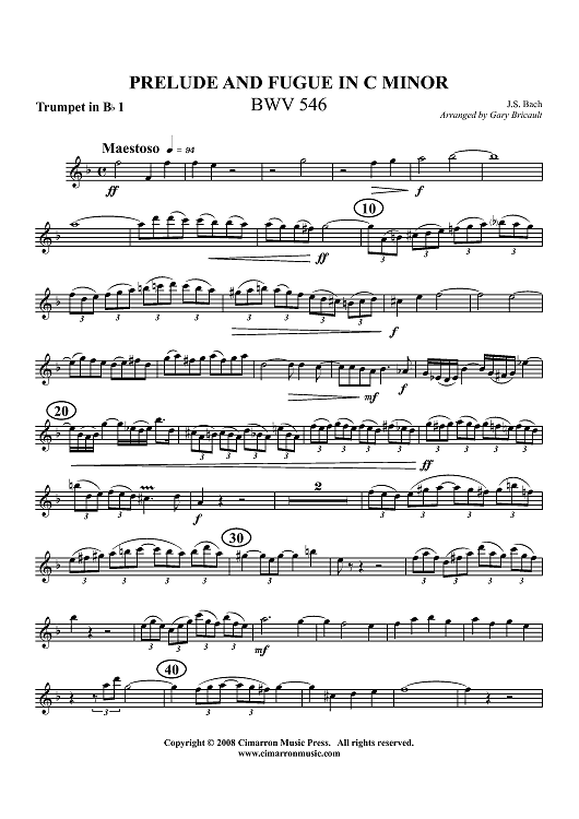 Prelude and Fugue in C Minor, BWV 546 - Trumpet 1 in Bb