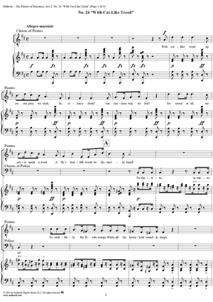 """the pirates of penzance - act ii, no. 24: with cat-like tread - vocal  """" sheet music for piano/vocal - sheet music now  sheet music now"""