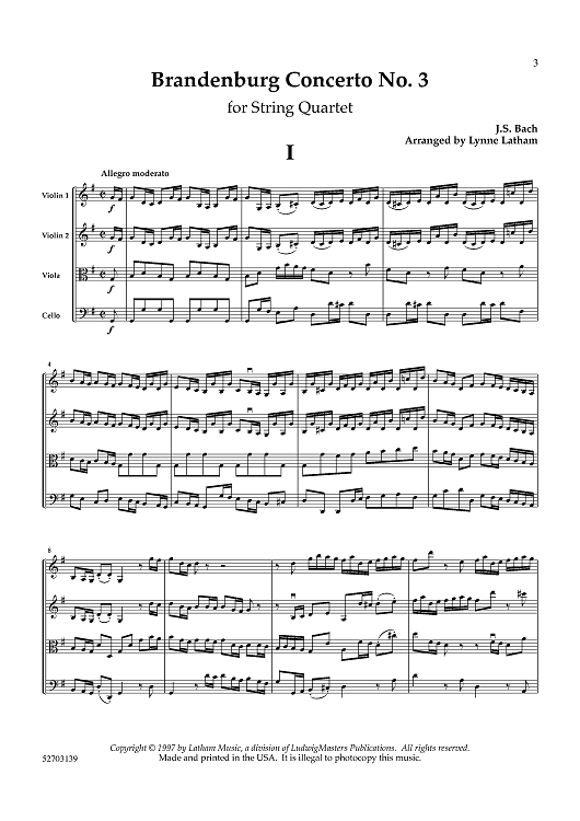 Brandenburg Concerto No  3 for String Quartet - Score