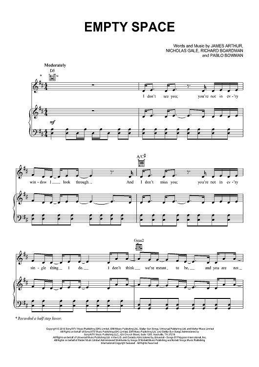 Empty Space By James Arthur Scored For Pianovocalchords