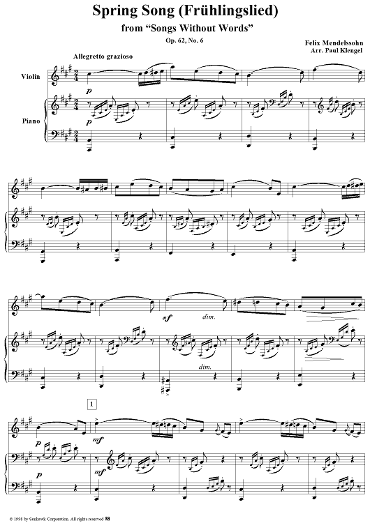 """songs without words (book v), op. 62, no. 6: spring song - piano  score"""" sheet music for violin/piano - sheet music now  sheet music now"""