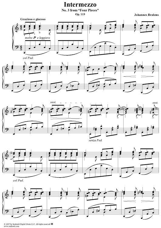 "Intermezzo, No. 3 from ""Four Pieces"". Op. 119"