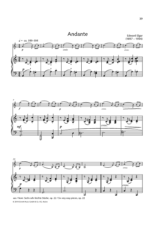 Andante - from: Six very easy pieces, op. 22