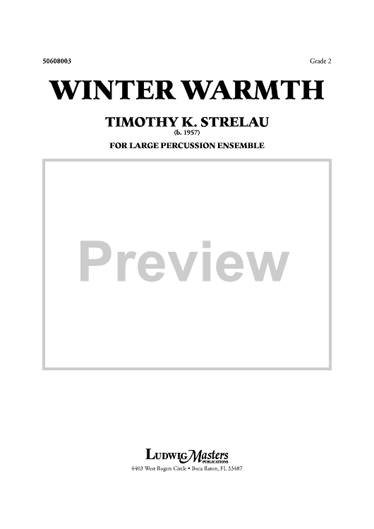 Winter Warmth - for Large Percussion Ensemble - Score