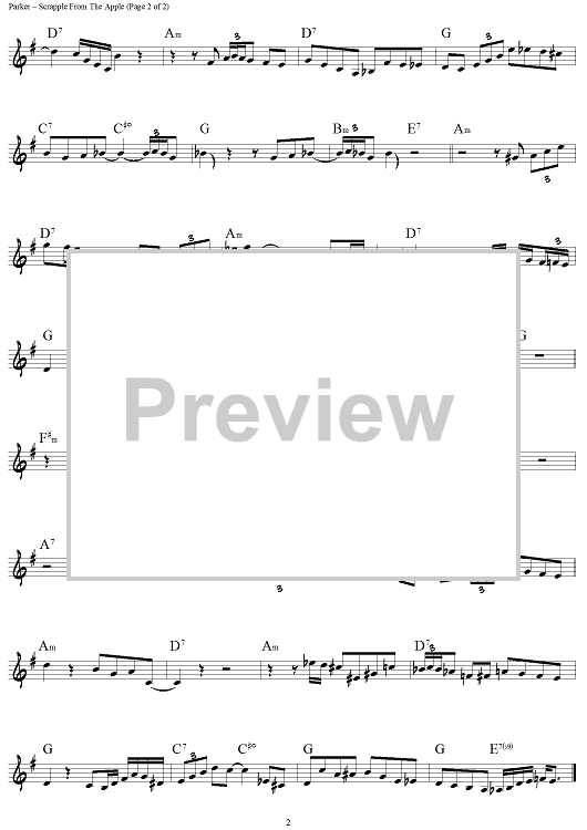 Buy Scrapple From The Apple Bb Instruments Sheet Music For Lead Sheet