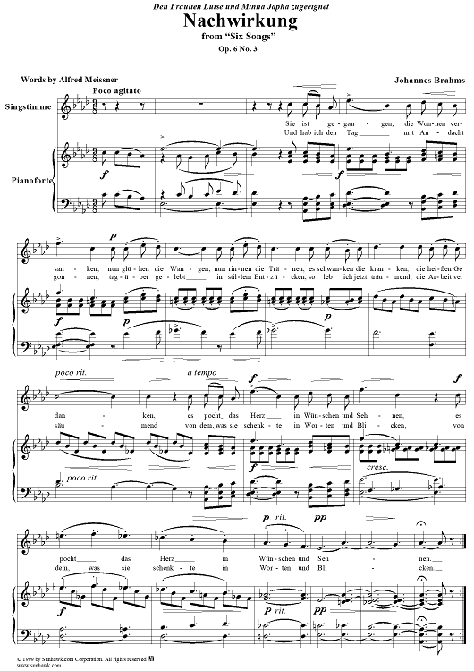 "Nachwirkung - From ""Six Songs"" op. 6, no. 3"