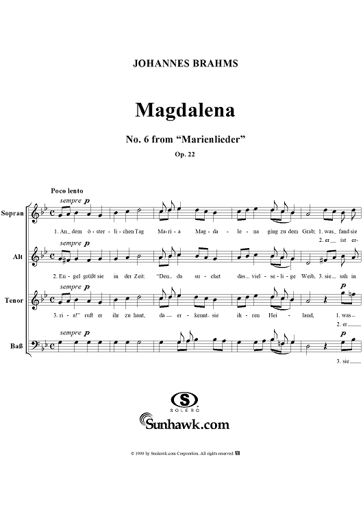 "Magdelena - No. 6 from ""Marienlieder"", Op. 22"