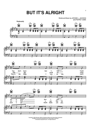 """but it's alright"""" sheet music by j. j. jackson; huey lewis &  the news for piano/vocal/chords - sheet music now  sheet music now"""