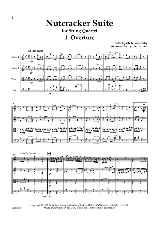 Nutcracker Suite for String Quartet - Score