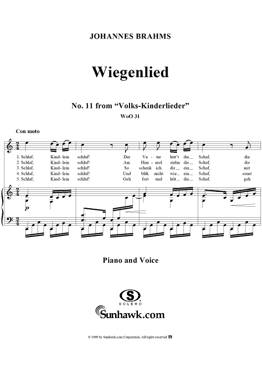 "Wiegenlied - No. 11 from ""Volks-Kinderlieder""  WoO 31"