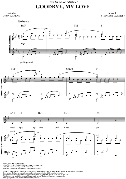 Buy Goodbye, My Love Sheet Music for Piano/Vocal/Chords