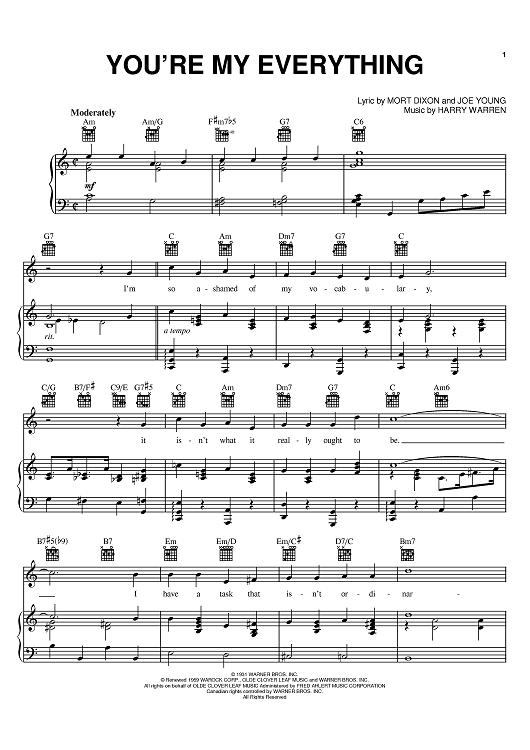 """Buy """"You're My Everything"""" Sheet Music by Nat King Cole; The Temptations for Piano/Vocal/Chords"""