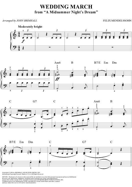 Wedding March Song.Wedding March From A Midsummer Night S Dream