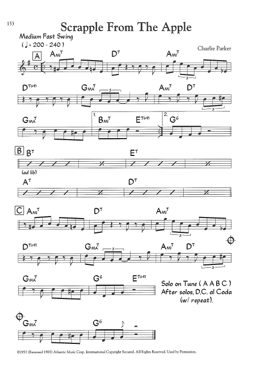 Buy Scrapple From The Apple Bb Instruments Sheet Music By Charlie Parker For Lead Sheet