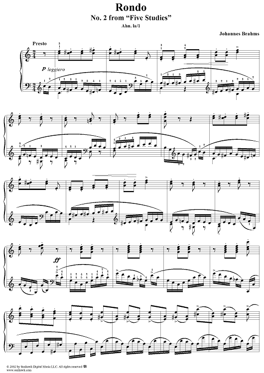 Five Studies for Piano, no. 2: Rondo after C.M. von Weber