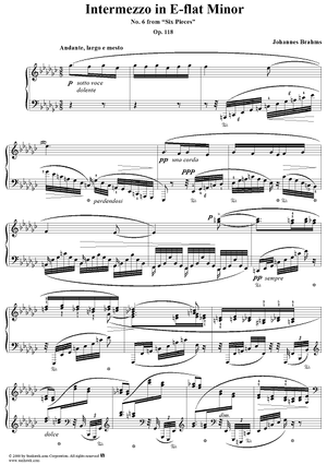 Intermezzo in E-Flat Minor, op. 118, no. 6