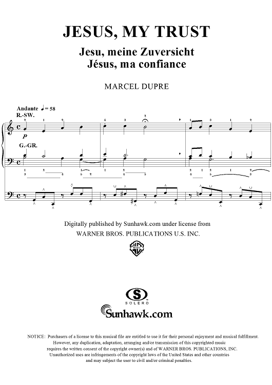 "Jesus, My Trust, from ""Seventy-Nine Chorales"", Op. 28, No. 45"