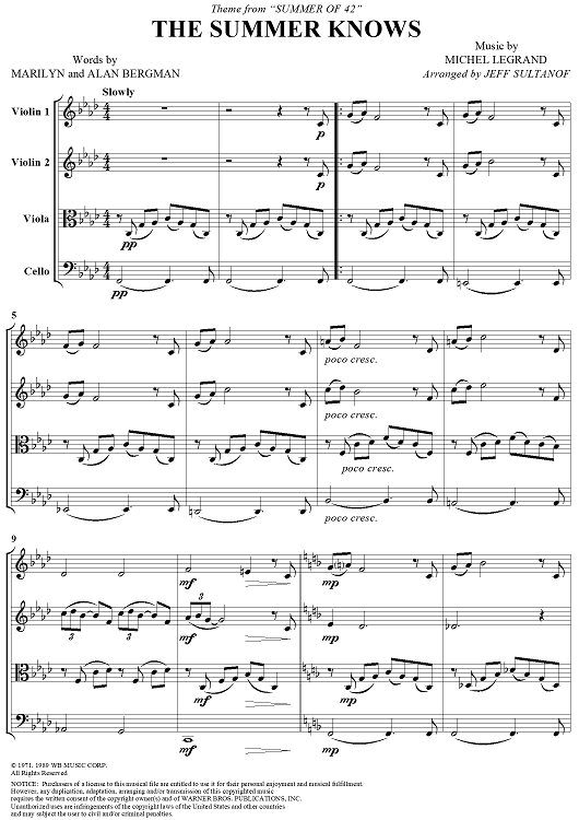 The Summer Knows (Theme from Summer of '42) - Score